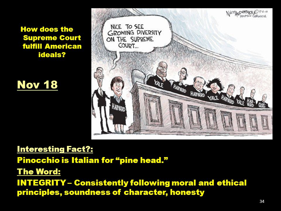 """How does the Supreme Court fulfill American ideals? Interesting Fact?: Pinocchio is Italian for """"pine head."""" The Word: INTEGRITY – Consistently follow"""