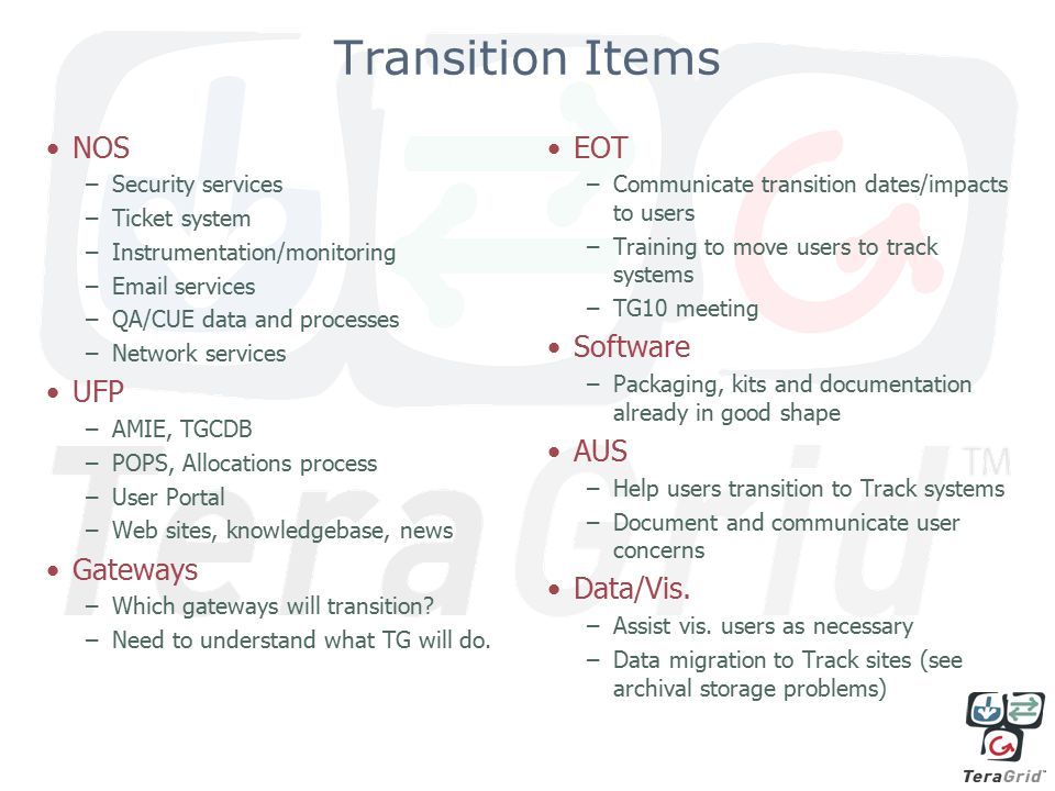 Transition Items NOS –Security services –Ticket system –Instrumentation/monitoring –Email services –QA/CUE data and processes –Network services UFP –AMIE, TGCDB –POPS, Allocations process –User Portal –Web sites, knowledgebase, news Gateways –Which gateways will transition.