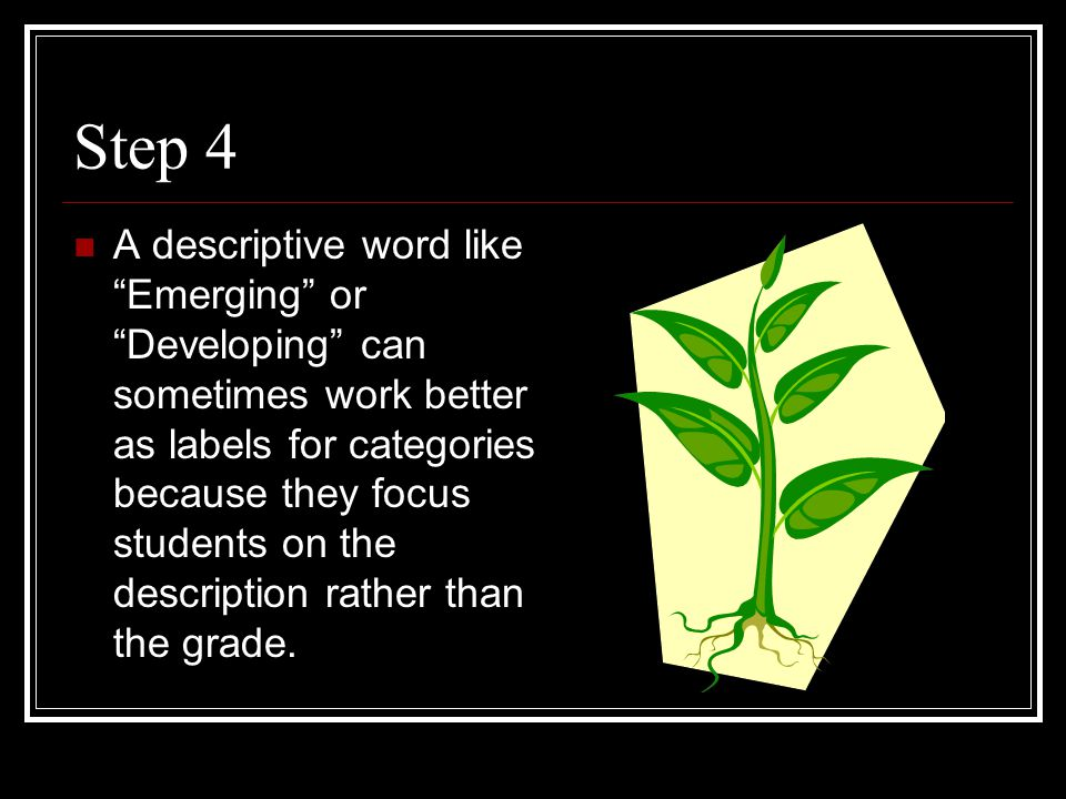 "Step 4 A descriptive word like ""Emerging"" or ""Developing"" can sometimes work better as labels for categories because they focus students on the descri"