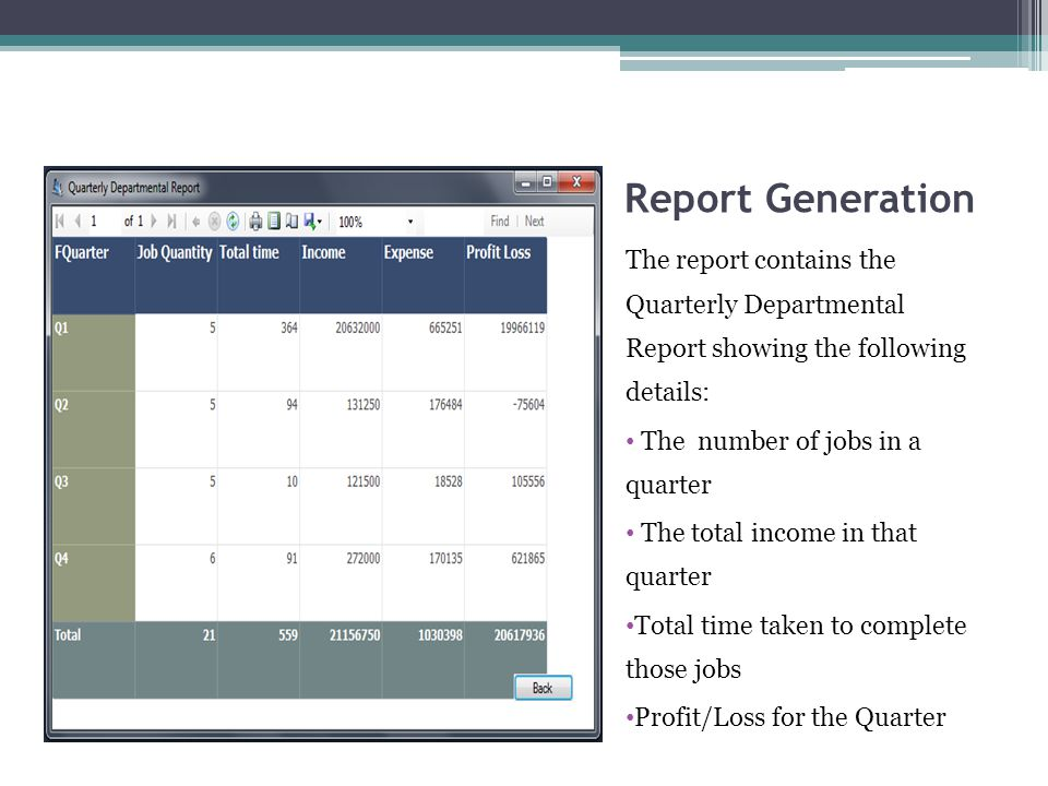 Report Generation The report contains the Quarterly Departmental Report showing the following details: The number of jobs in a quarter The total income in that quarter Total time taken to complete those jobs Profit/Loss for the Quarter