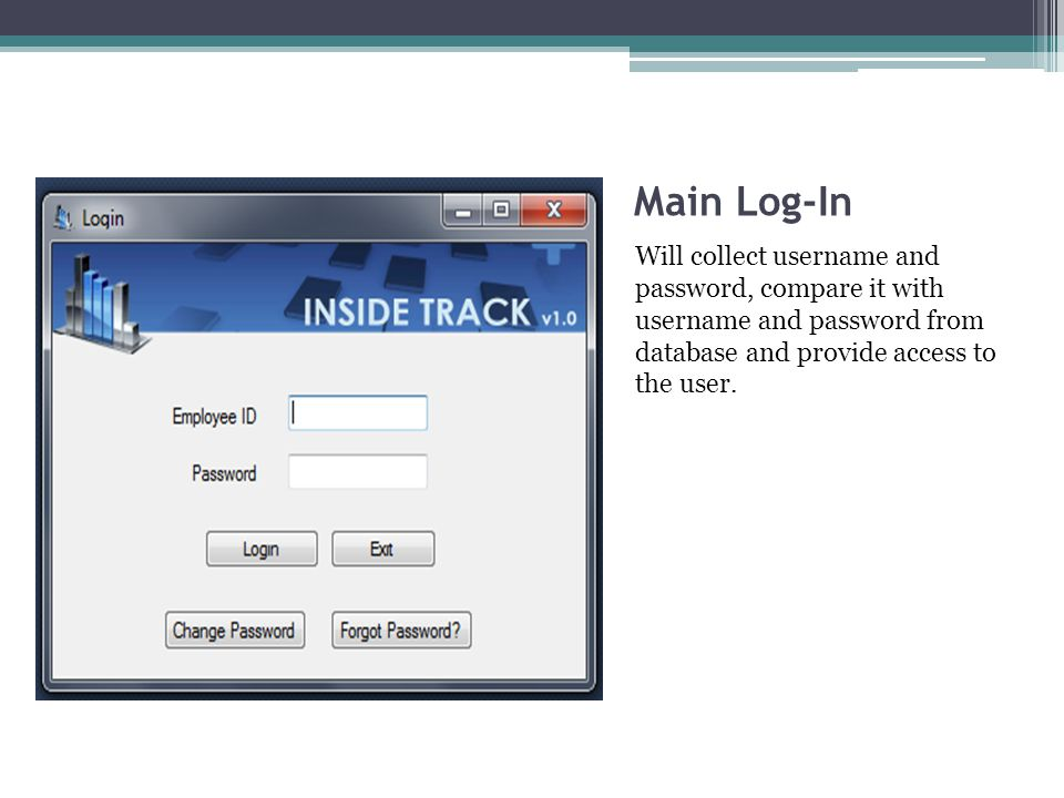Main Log-In Will collect username and password, compare it with username and password from database and provide access to the user.