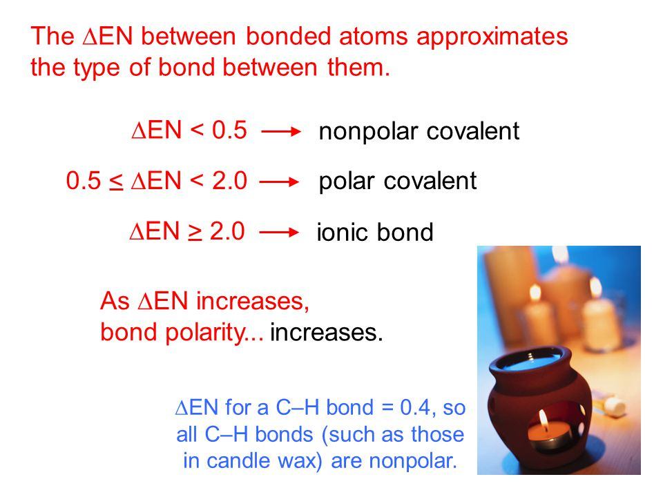 nonpolar covalent The  EN between bonded atoms approximates the type of bond between them.