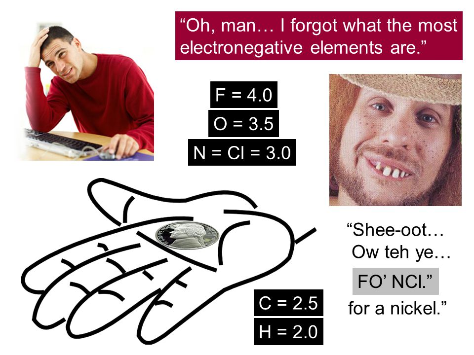 """Oh, man… I forgot what the most electronegative elements are."" ""Shee-oot… Ow teh ye… for a nickel."" FO' NCl."" F = 4.0 O = 3.5 N = Cl = 3.0 C = 2.5 H"