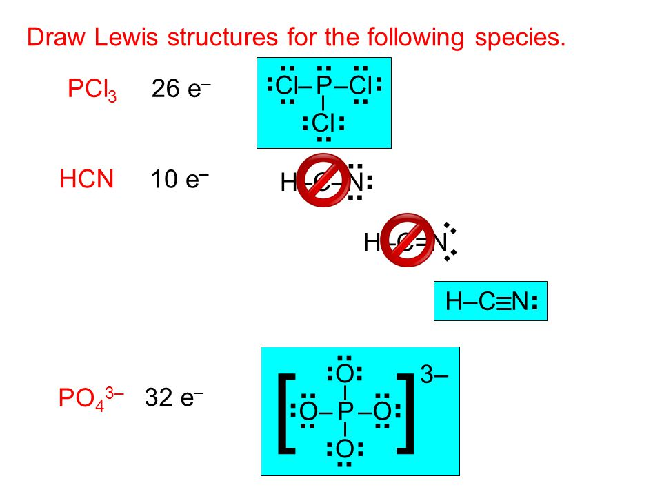 26 e – Draw Lewis structures for the following species. PCl 3 P–ClCl– Cl.. HCN 10 e – H–C–N H–C=N H–C–N.. [ ] PO 4 3– P–OO–.. O O 32 e – 3–