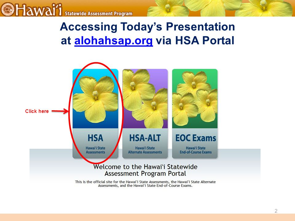 Online Hawai'i State Assessments Accessing Today's Presentation at alohahsap.org via HSA Portalalohahsap.org Click here 2