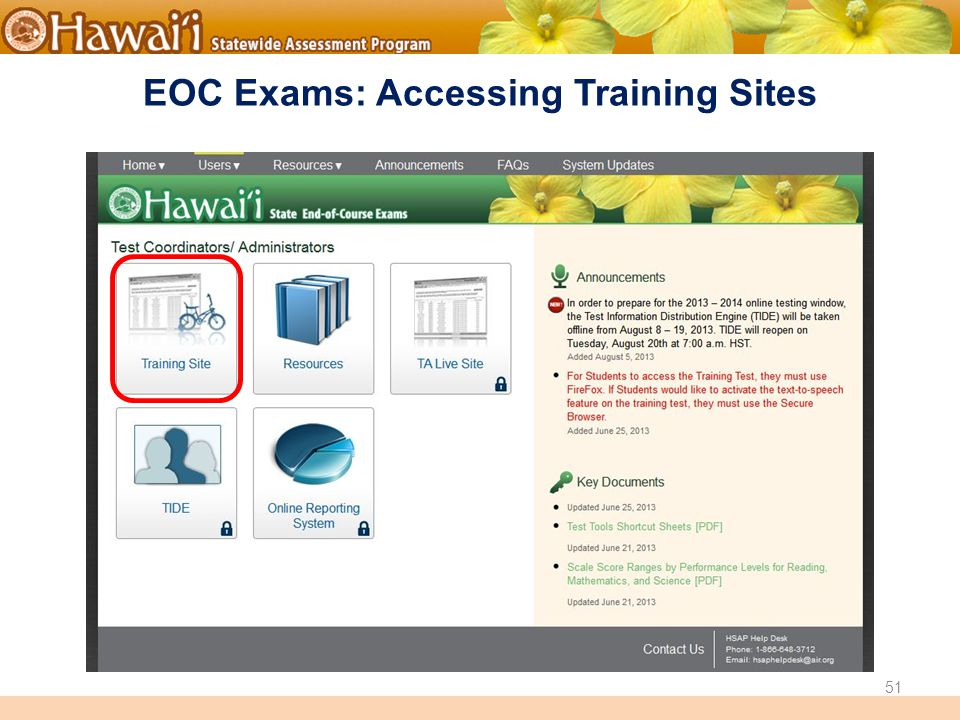 Online Hawai'i State Assessments EOC Exams: Accessing Training Sites 51