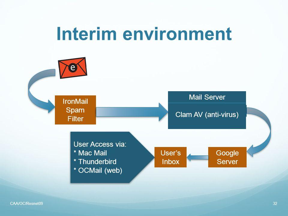 Interim environment CAA/OC/Resnet0932 IronMail Spam Filter Mail Server User's Inbox User Access via: * Mac Mail * Thunderbird * OCMail (web) Google Se