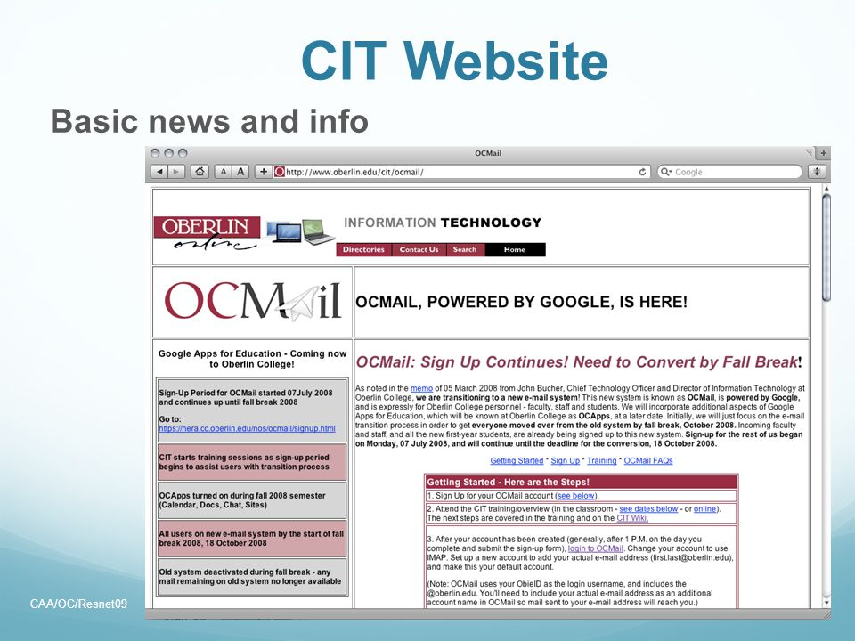 CIT Website Basic news and info CAA/OC/Resnet0933