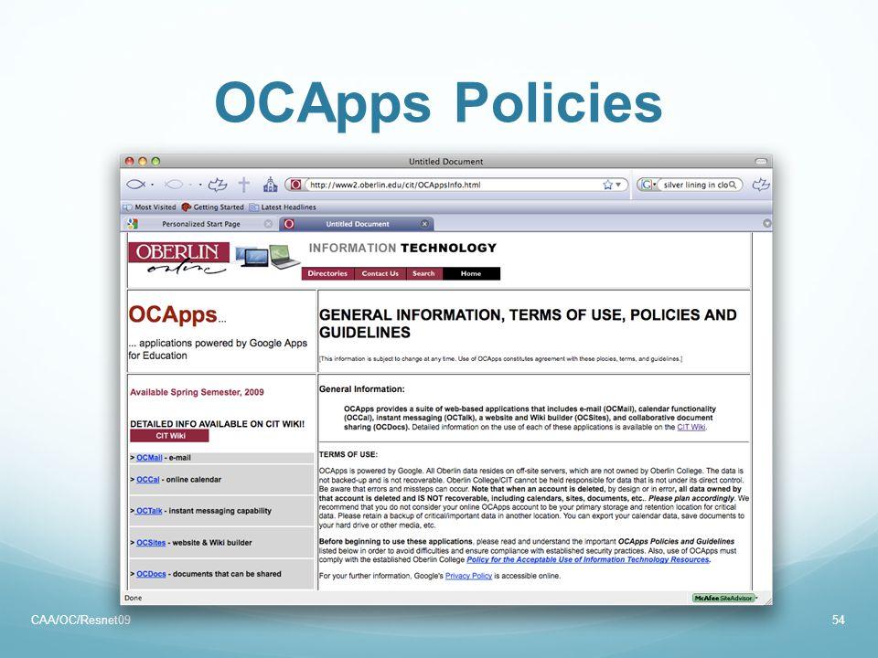 OCApps Policies CAA/OC/Resnet0954