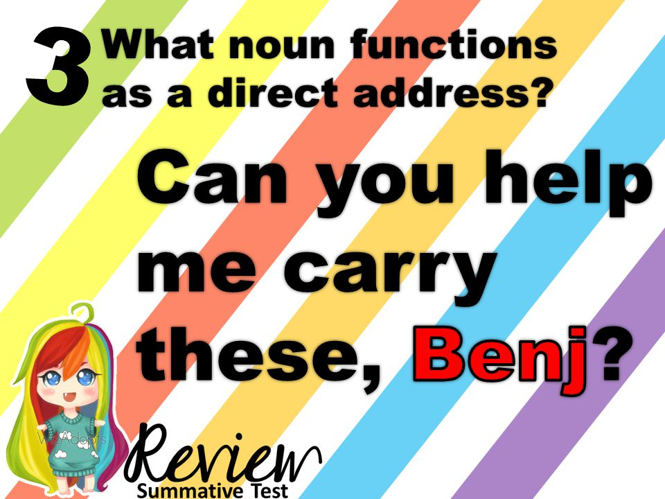 3 What noun functions as a direct address