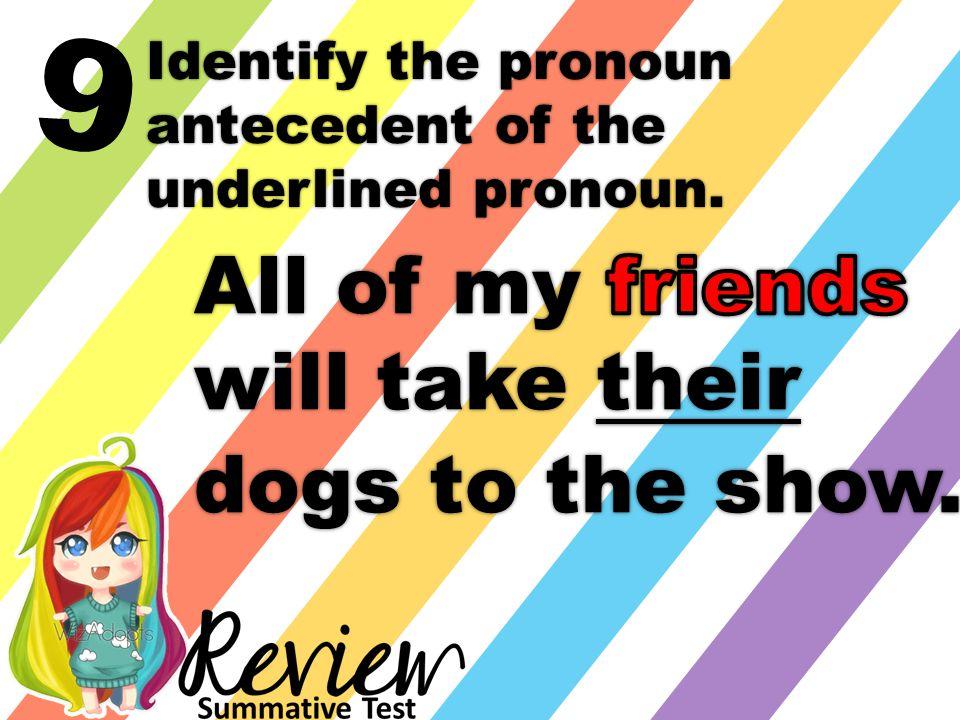 9 Identify the pronoun antecedent of the underlined pronoun.