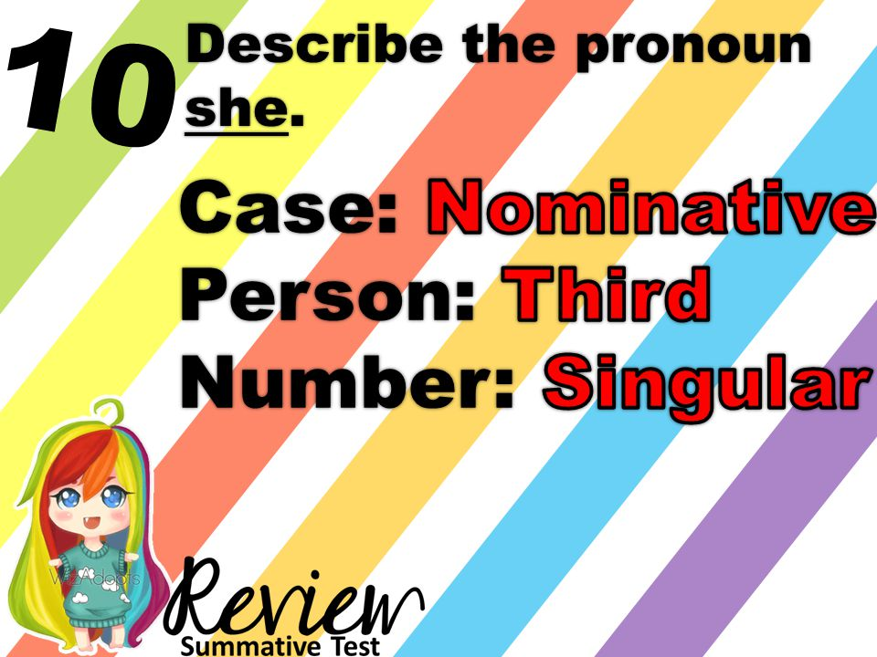 10 Describe the pronoun she.