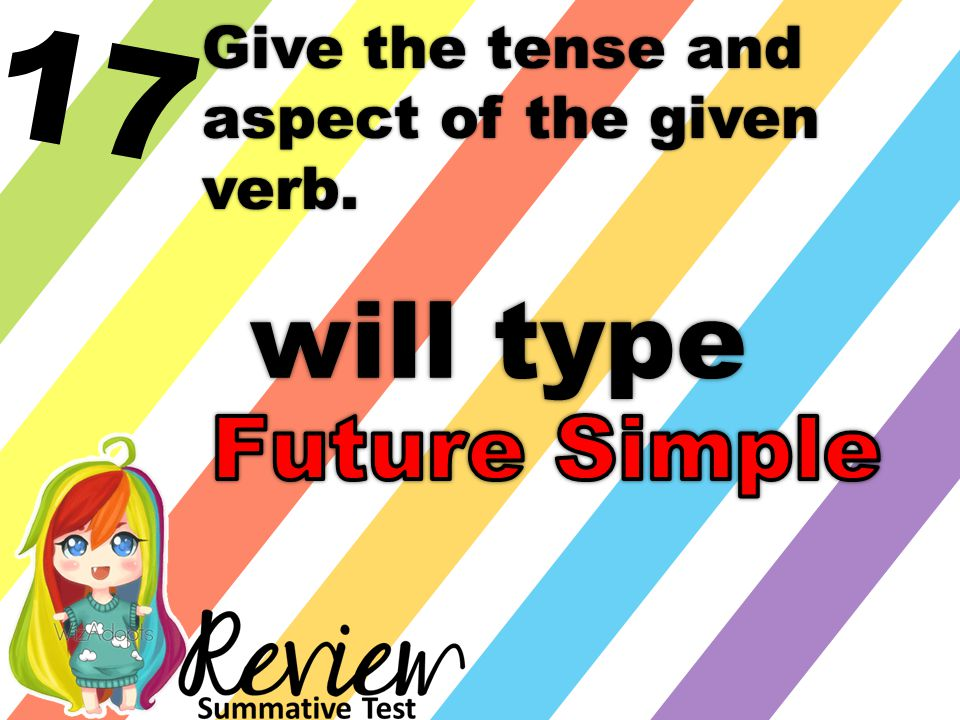 17 Give the tense and aspect of the given verb. will type