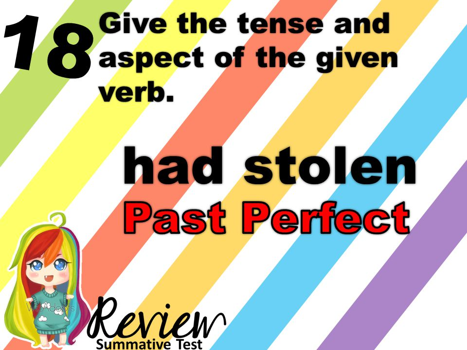 18 Give the tense and aspect of the given verb. had stolen
