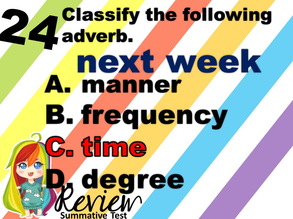 24 Classify the following adverb. next week