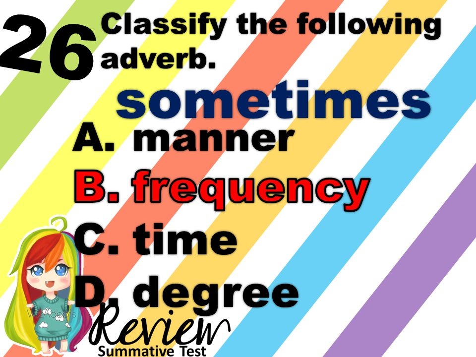 26 Classify the following adverb. sometimes