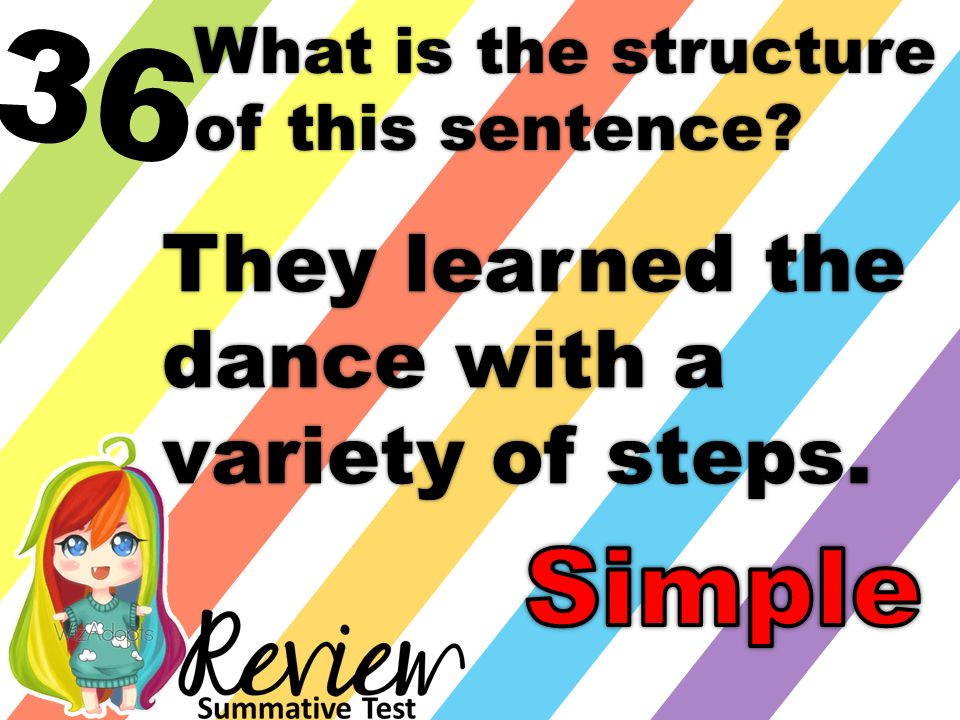 36 What is the structure of this sentence They learned the dance with a variety of steps.
