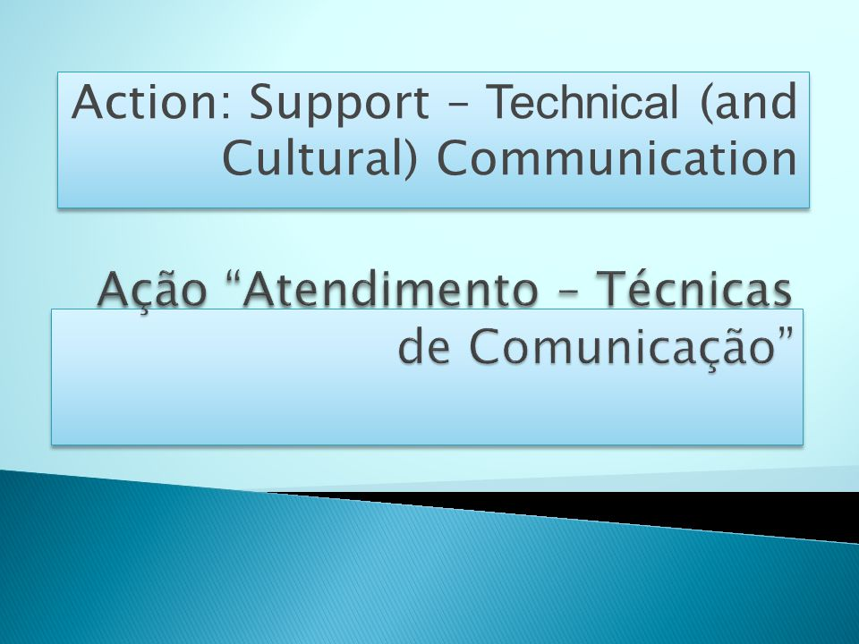Action: Support – Technical (and Cultural) Communication