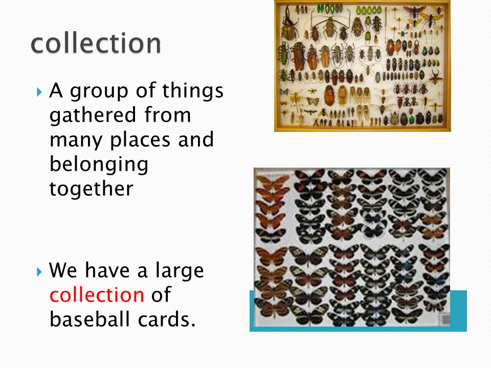  A group of things gathered from many places and belonging together  We have a large collection of baseball cards.