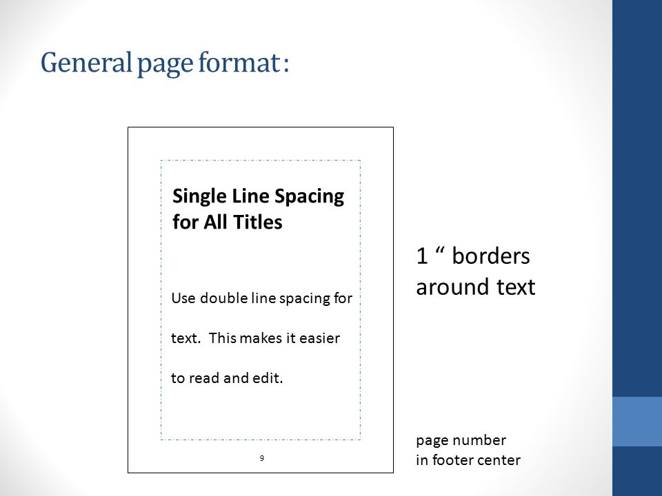 General page format : 1 borders around text Single Line Spacing for All Titles Use double line spacing for text.