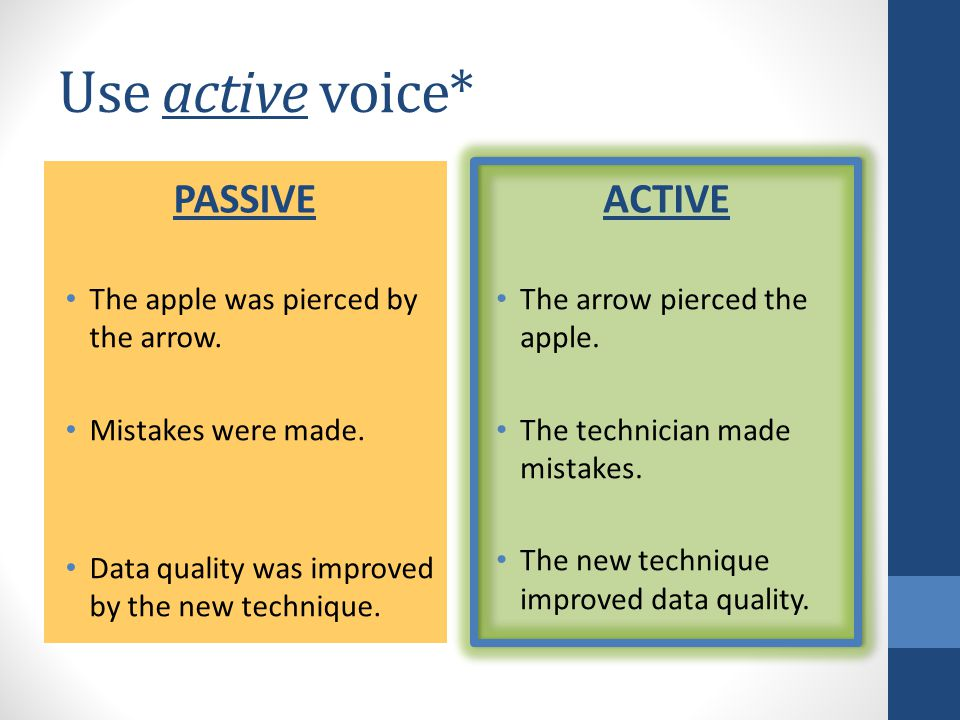 Use active voice* PASSIVE The apple was pierced by the arrow.