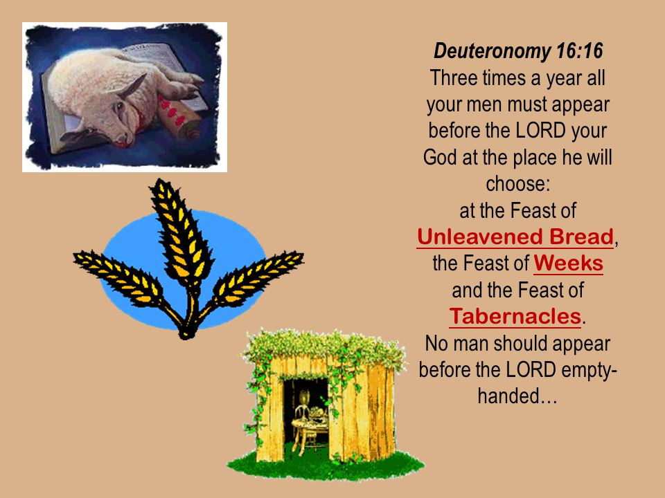 Deuteronomy 16:16 Three times a year all your men must appear before the LORD your God at the place he will choose: at the Feast of Unleavened Bread,