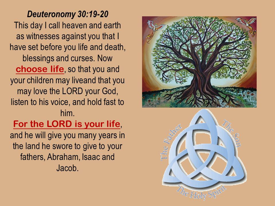 Deuteronomy 30:19-20 This day I call heaven and earth as witnesses against you that I have set before you life and death, blessings and curses. Now ch