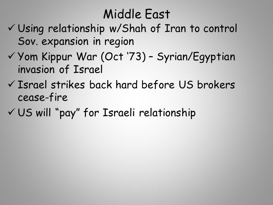 Middle East Using relationship w/Shah of Iran to control Sov.