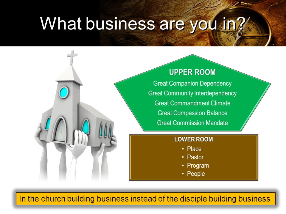In the church building business instead of the disciple building business