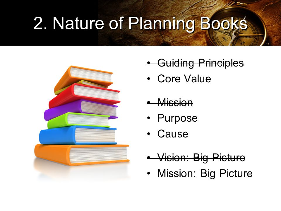 2. Nature of Planning Books Guiding Principles Core Value Mission Purpose Cause Vision: Big Picture Mission: Big Picture