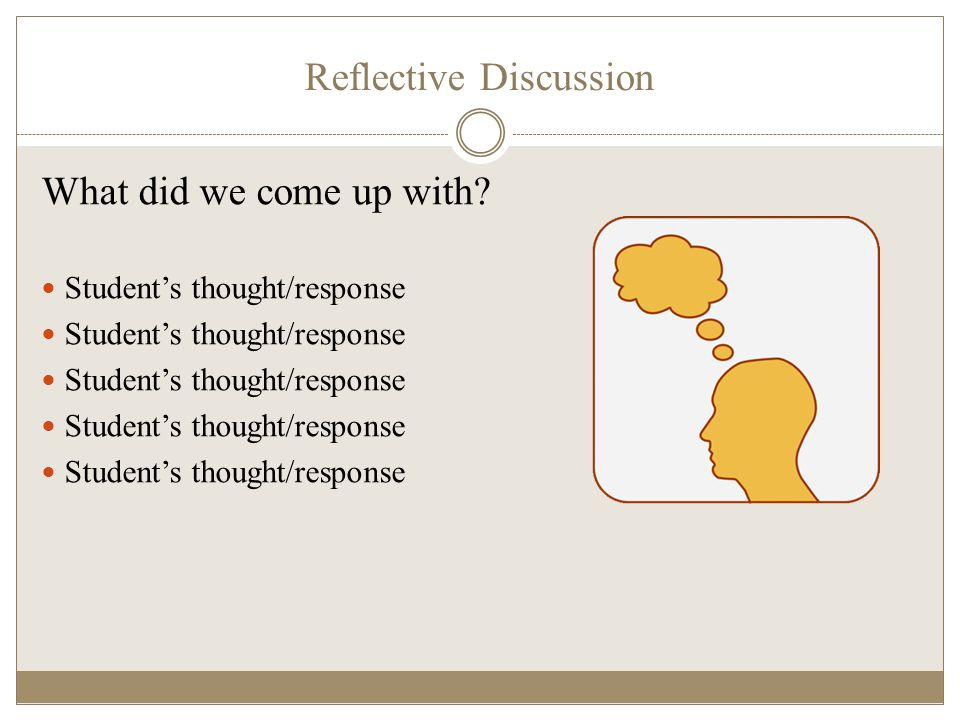 Reflective Discussion What did we come up with? Student's thought/response