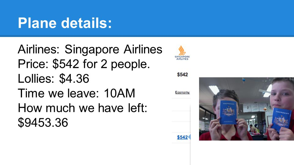 Plane details: Airlines: Singapore Airlines Price: $542 for 2 people.