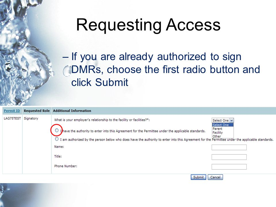 Requesting Access –If you are already authorized to sign DMRs, choose the first radio button and click Submit