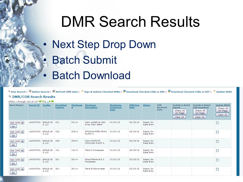 DMR Search Results Next Step Drop Down Batch Submit Batch Download