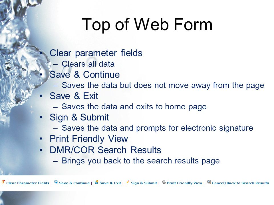 Top of Web Form Clear parameter fields –Clears all data Save & Continue –Saves the data but does not move away from the page Save & Exit –Saves the data and exits to home page Sign & Submit –Saves the data and prompts for electronic signature Print Friendly View DMR/COR Search Results –Brings you back to the search results page