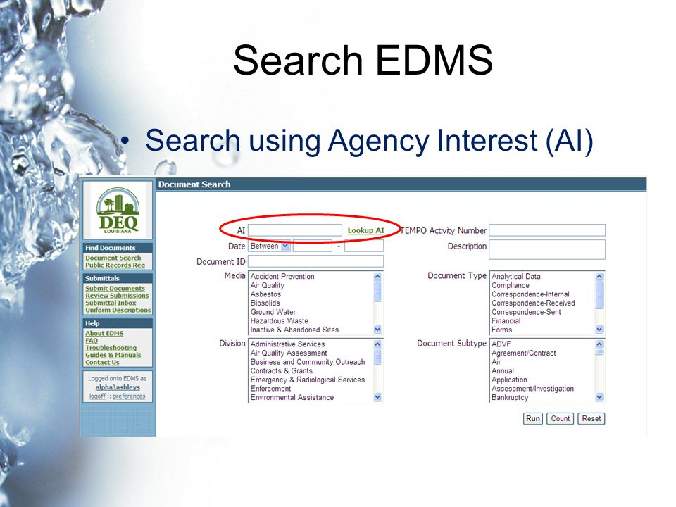 Search EDMS Search using Agency Interest (AI)