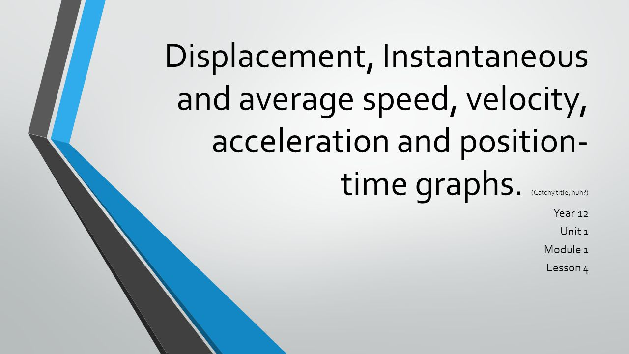 Displacement, Instantaneous and average speed, velocity, acceleration and position- time graphs.