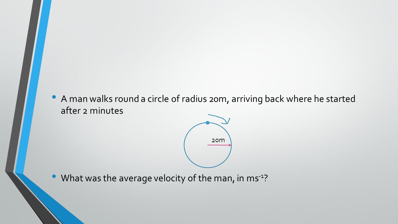 A man walks round a circle of radius 20m, arriving back where he started after 2 minutes What was the average velocity of the man, in ms -1 .