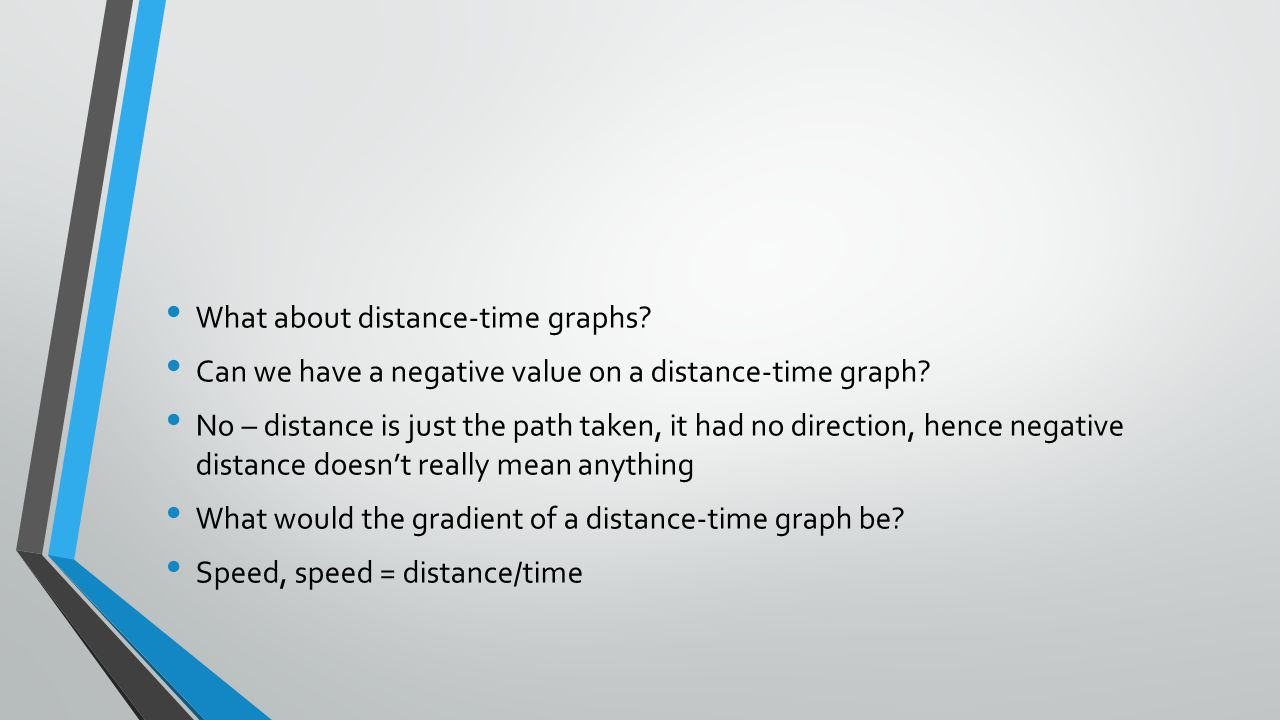 What about distance-time graphs. Can we have a negative value on a distance-time graph.