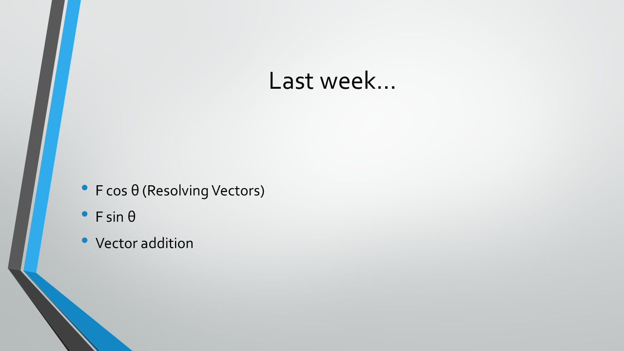 Last week… F cos θ (Resolving Vectors) F sin θ Vector addition
