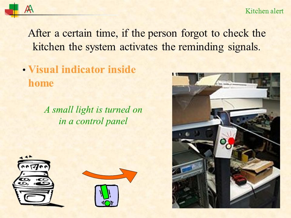 Kitchen alert Visual indicator inside home A small light is turned on in a control panel After a certain time, if the person forgot to check the kitchen the system activates the reminding signals.
