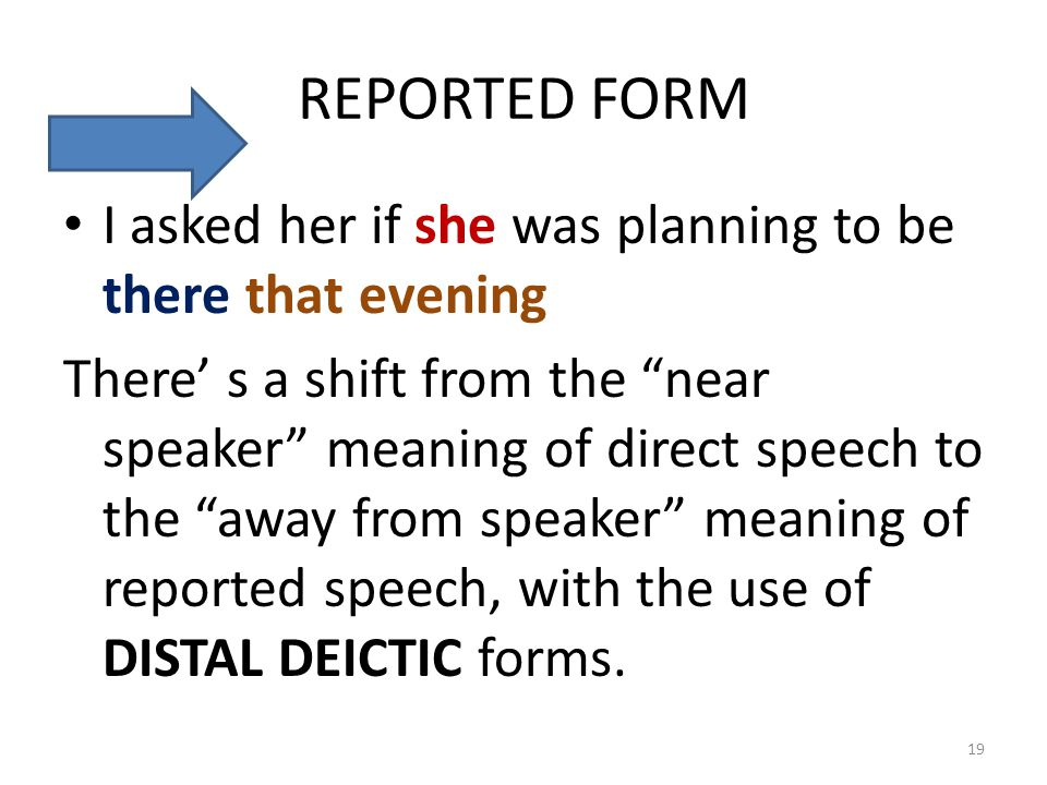 "REPORTED FORM I asked her if she was planning to be there that evening There' s a shift from the ""near speaker"" meaning of direct speech to the ""away"