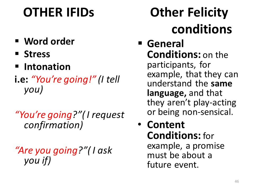 "OTHER IFIDs Other Felicity conditions  Word order  Stress  Intonation i.e: ""You're going!"" (I tell you) ""You're going?""( I request confirmation) ""A"