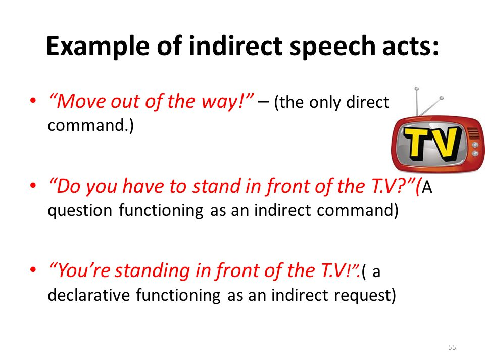 "Example of indirect speech acts: ""Move out of the way!"" – (the only direct command.) ""Do you have to stand in front of the T.V?""( A question functioni"