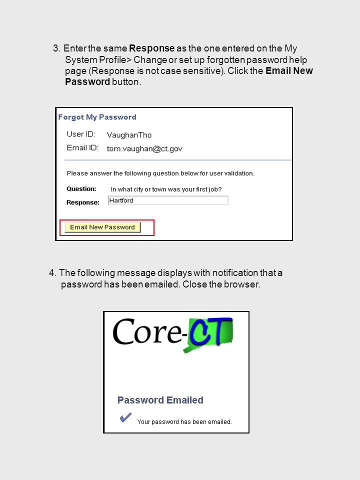 3. Enter the same Response as the one entered on the My System Profile> Change or set up forgotten password help page (Response is not case sensitive)