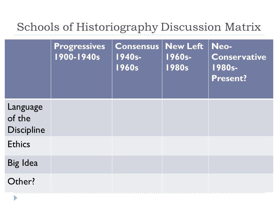 Schools of Historiography Discussion Matrix Progressives 1900-1940s Consensus 1940s- 1960s New Left 1960s- 1980s Neo- Conservative 1980s- Present? Lan