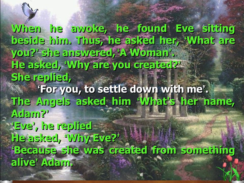 Click to edit Master title style Click to edit Master text styles Second level Third level Fourth level Fifth level 5 Thereby, Adam dwelled in the Garden.