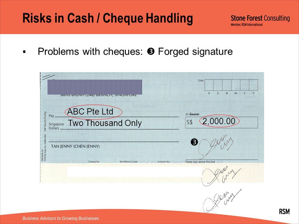 Risks in Cash / Cheque Handling  Problems with cheques:  Forged signature ABC Pte Ltd Two Thousand Only 2,000.00 