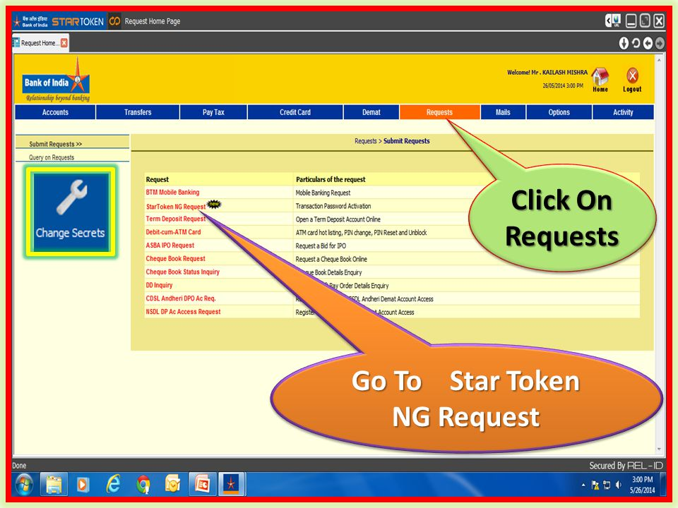 Click On Requests Go To Star Token NG Request