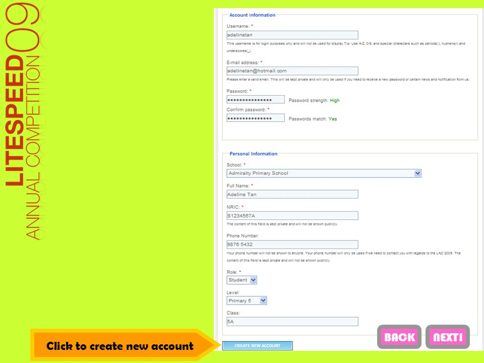 Click to create new account NEXT!BACK